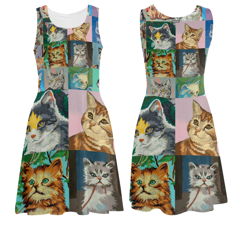 cat portraits paint by number printed tank dress