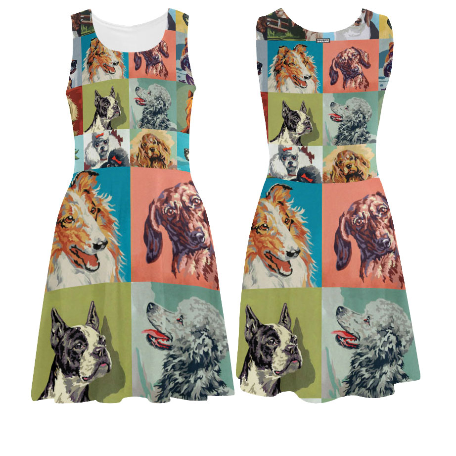 dog portraits paint by number printed tank dress