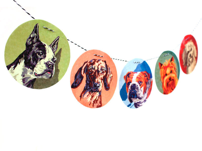 vintage paint by numbers dog portraits flat felt garland