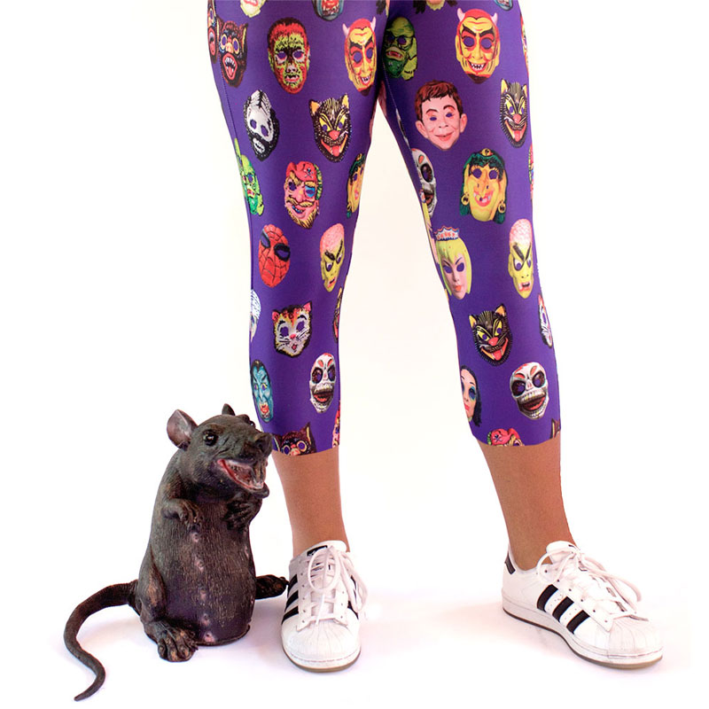vintage halloween masks printed leggings yoga pants