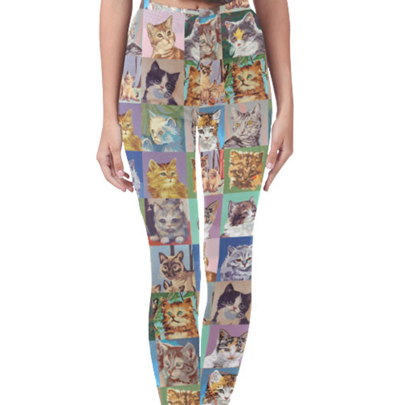 vintage paint by numbers cats printed leggings yoga pants