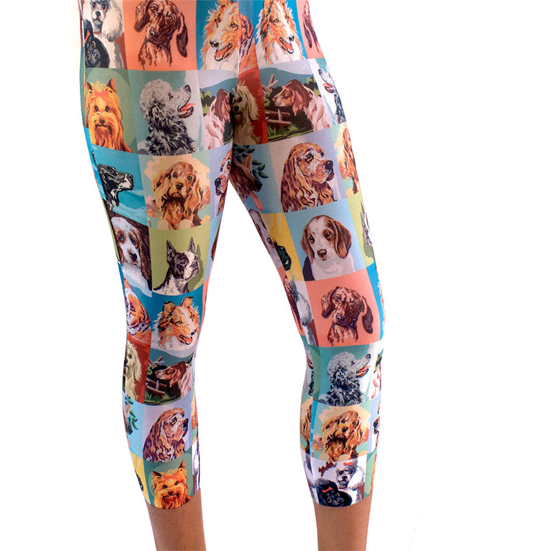 vintage paint by numbers dogs printed leggings yoga pants