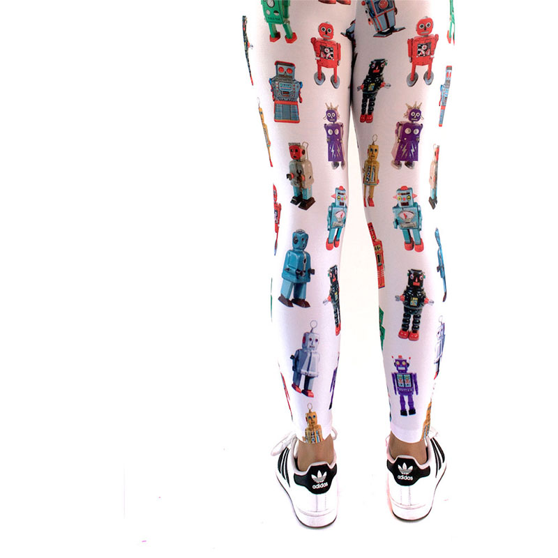 vintage tin robots printed leggings yoga pants