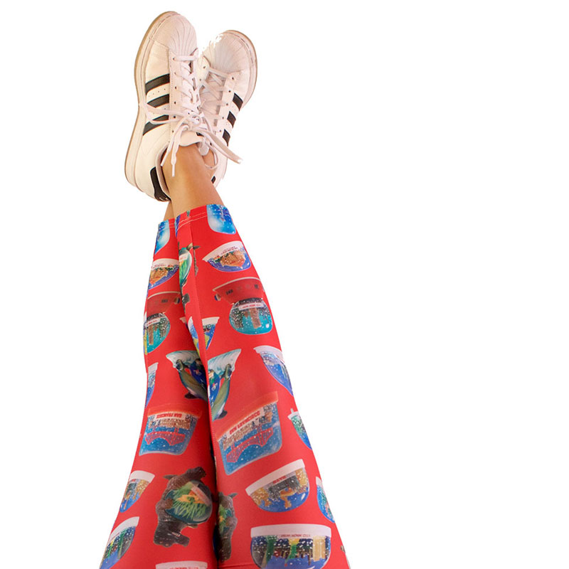 vintage snow domes snow globes printed leggings yoga pants