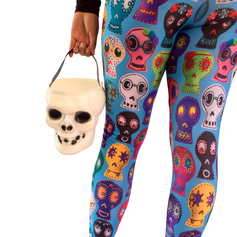 day of the dead sugar skulls printed leggings yoga pants