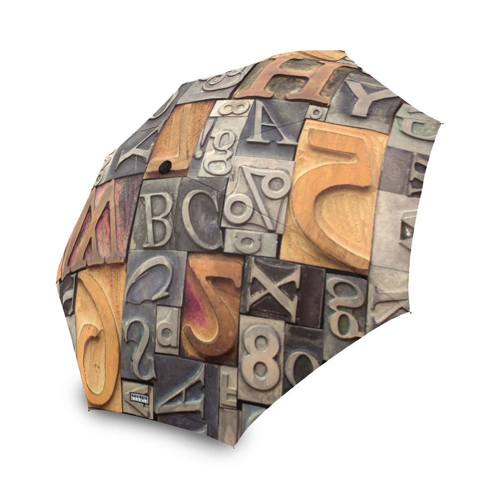 photographic metal and wood type umbrella