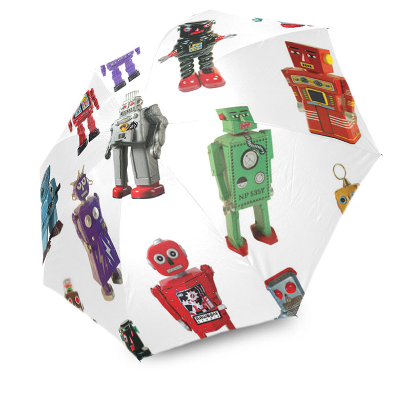 photographic vintage tin robots umbrella